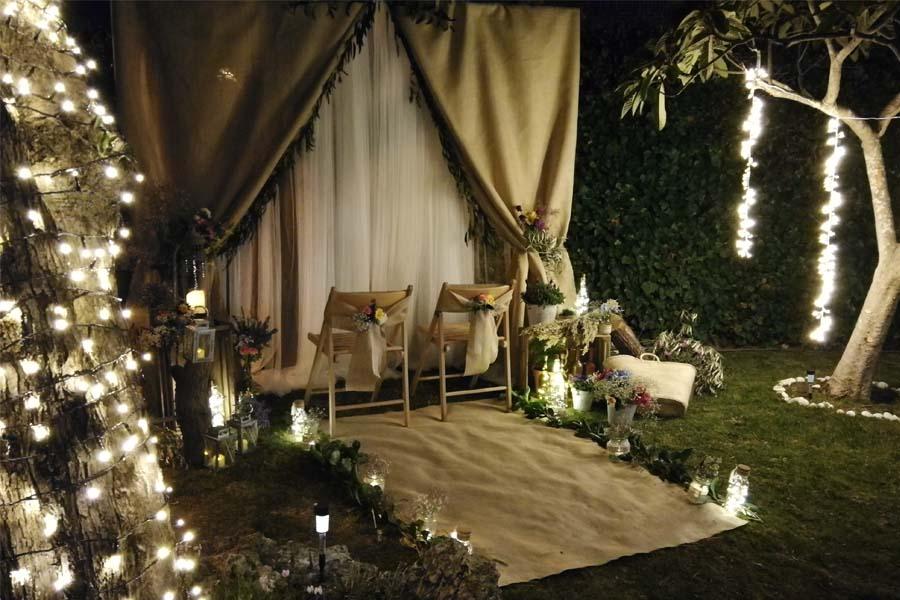 arco nupcial rustico boda noche