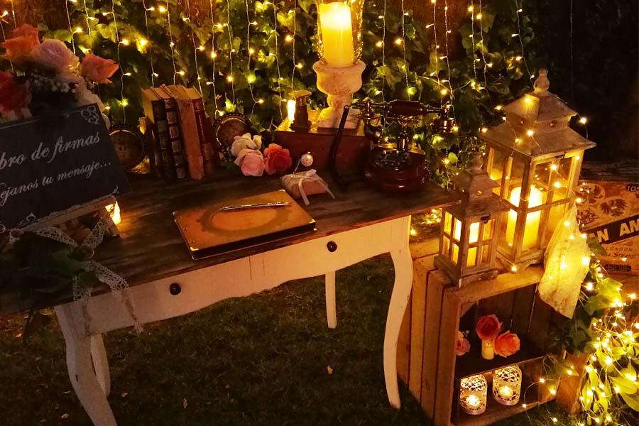decoracionde mesa de firmas noche